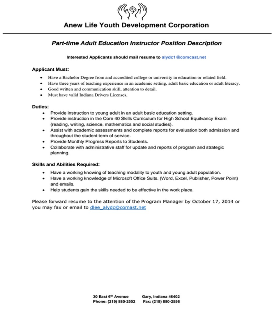 sample cover letter program coordinator youth program